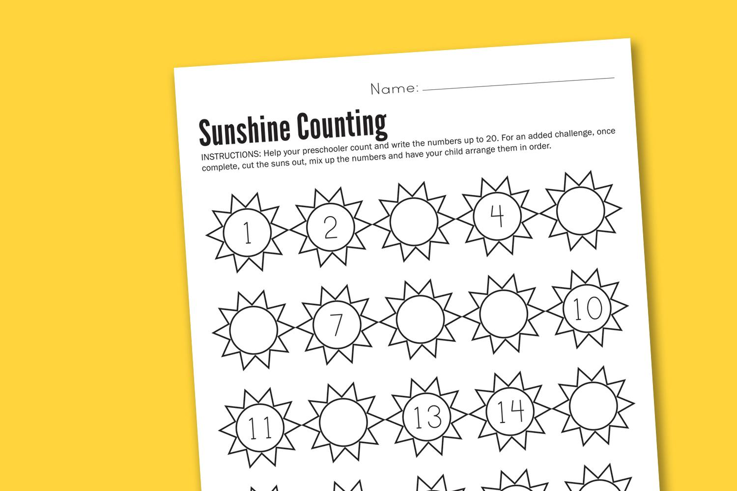 Preschool Counting Worksheets 1-20