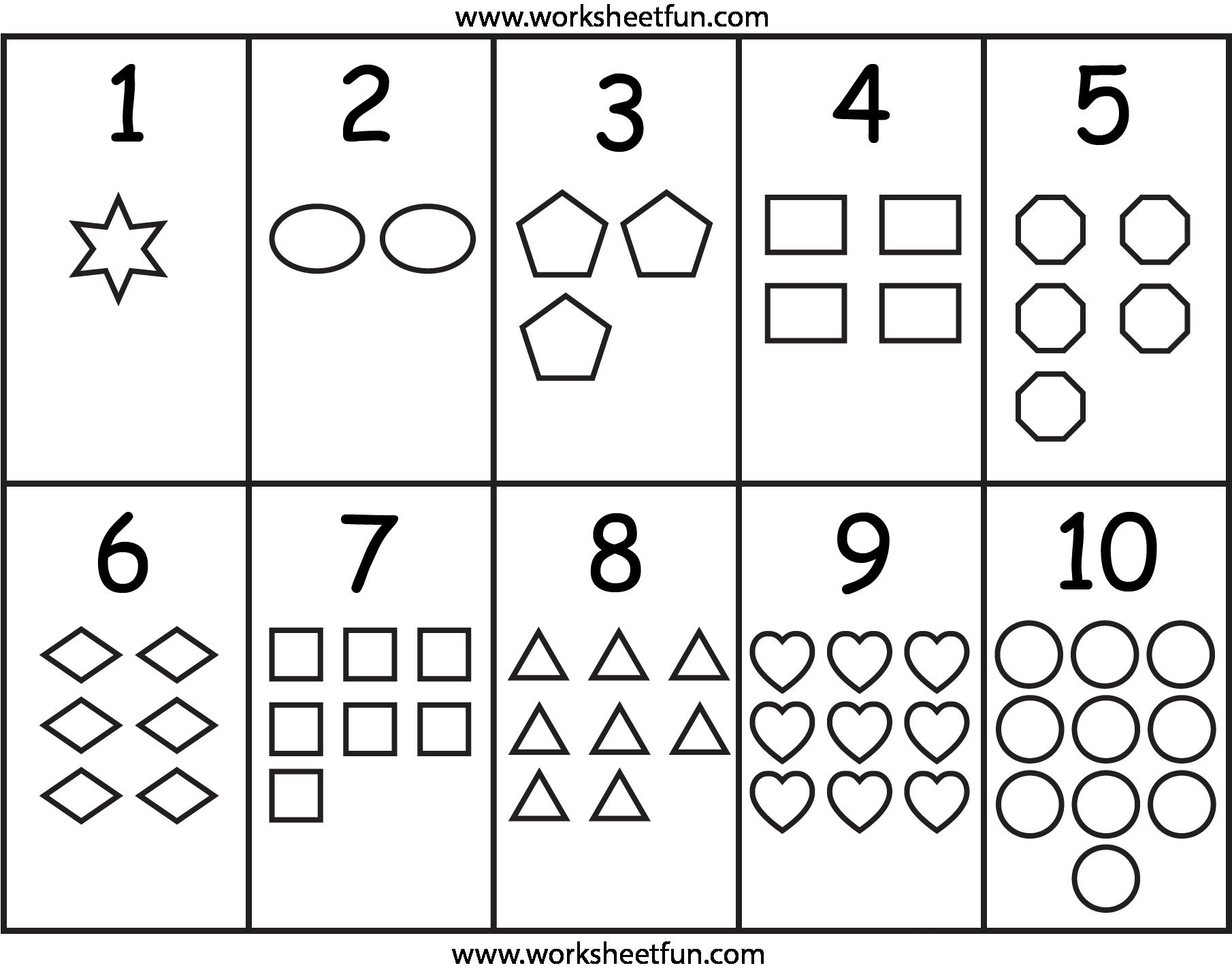 Preschool Counting Worksheets 1-5