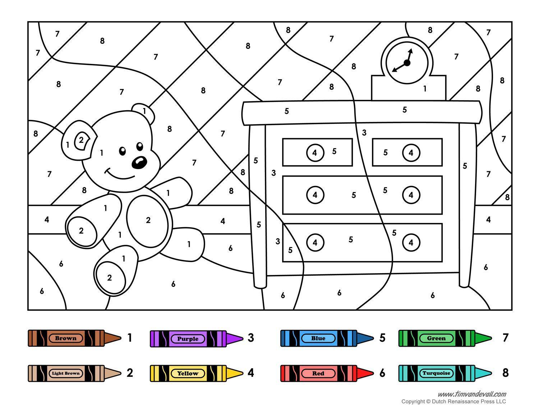Preschool Worksheets Color By Number 3