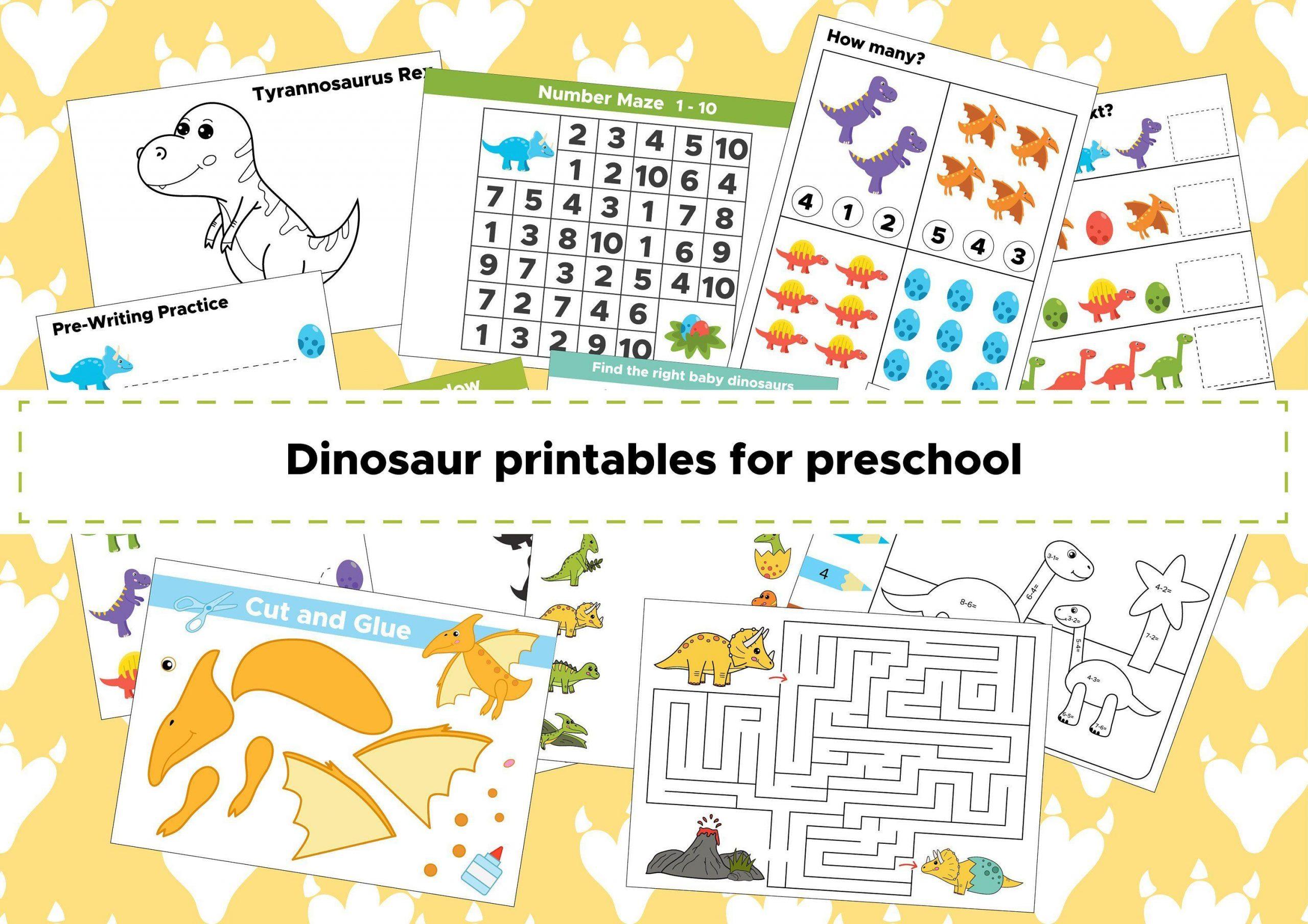 Preschool Worksheets Dinosaurs 1