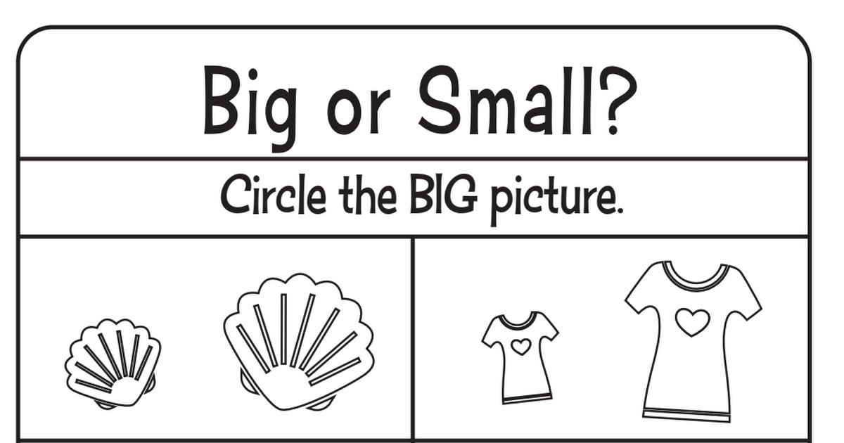 Worksheets On Big And Small For Preschool