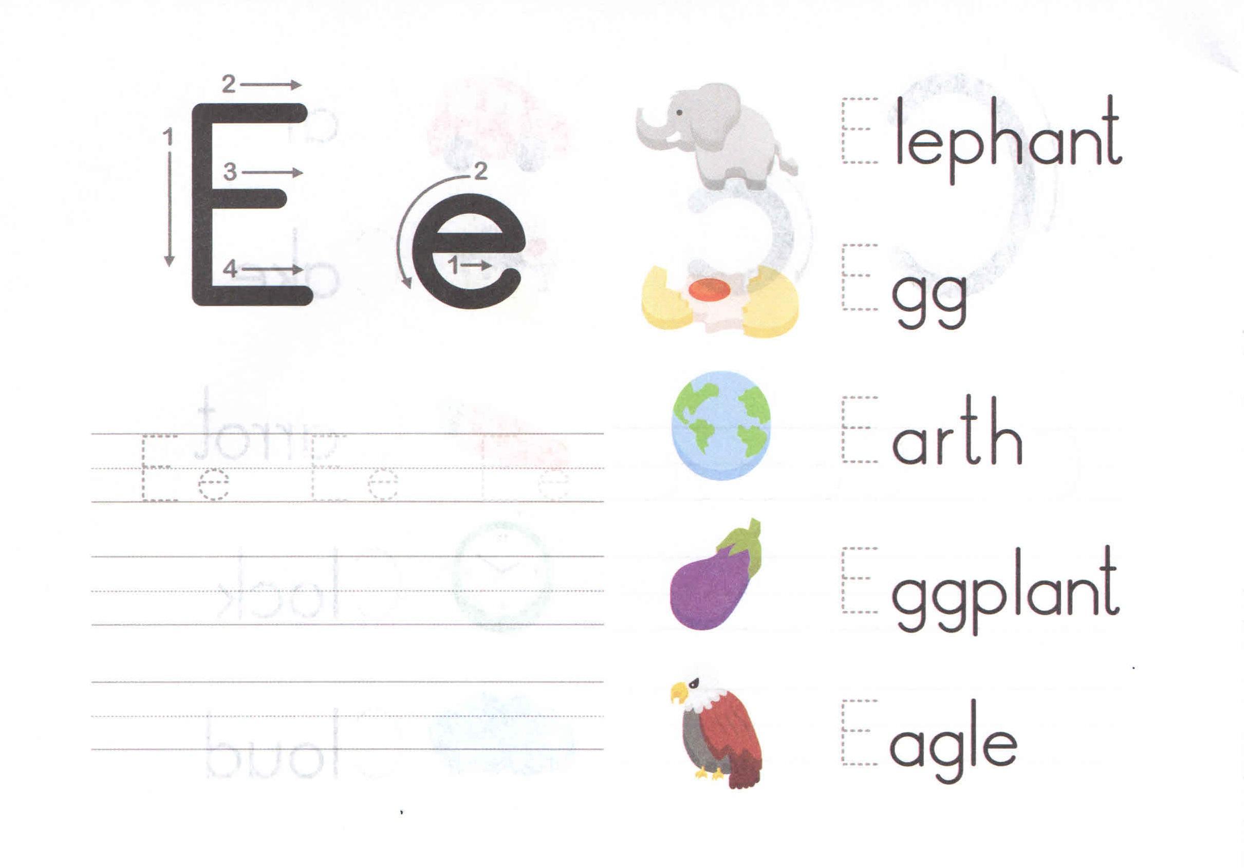 Preschool Worksheets Letter E 1