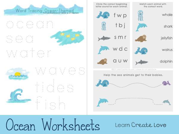 Preschool Worksheets Ocean Theme 5