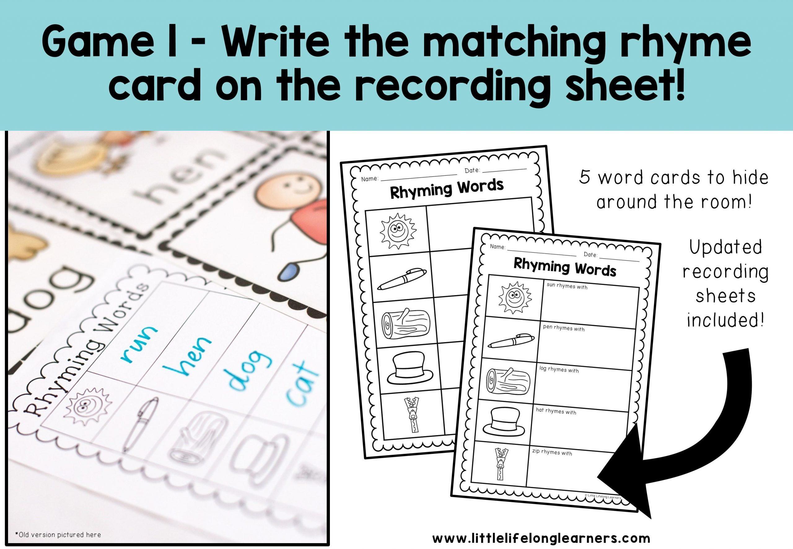 Preschool Worksheets Rhyming Words 3