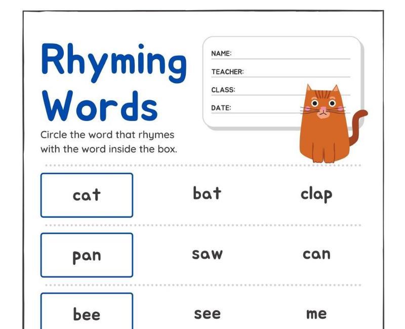 Preschool Worksheets Rhyming Words 5
