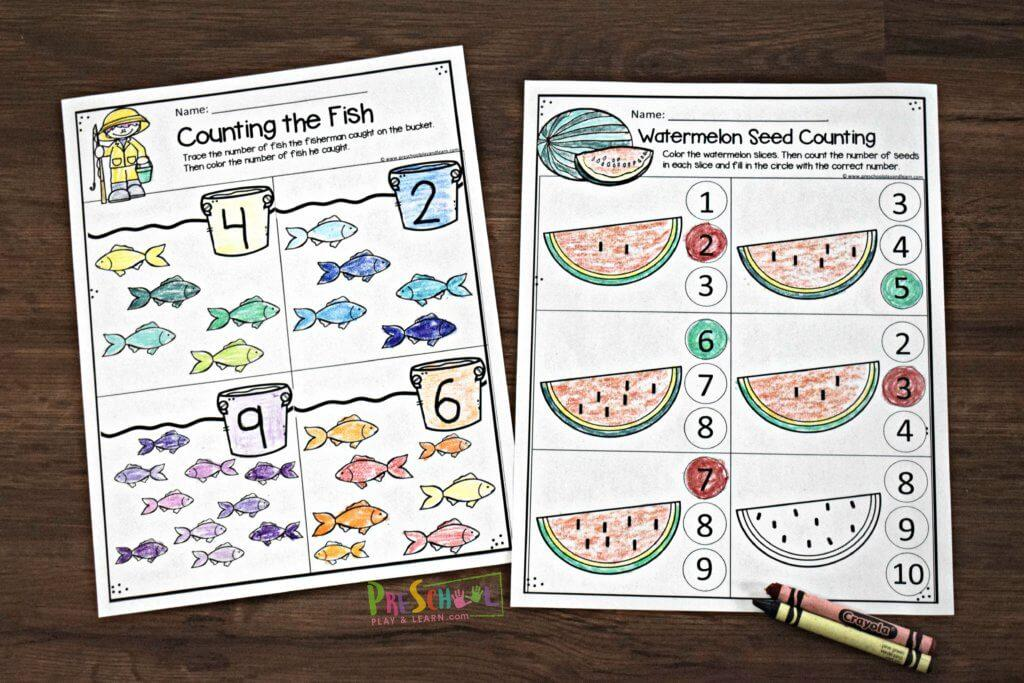 Preschool Worksheets Summer 1