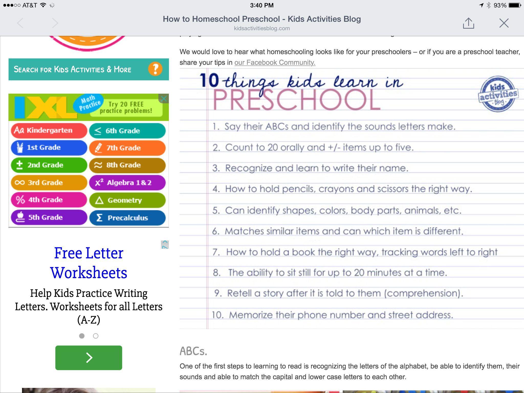 Writing Readiness Worksheets Preschool