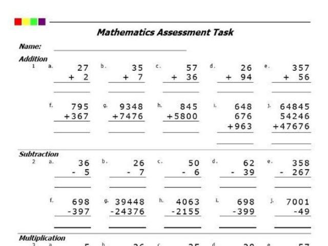 Math Worksheets By Grade Level 9