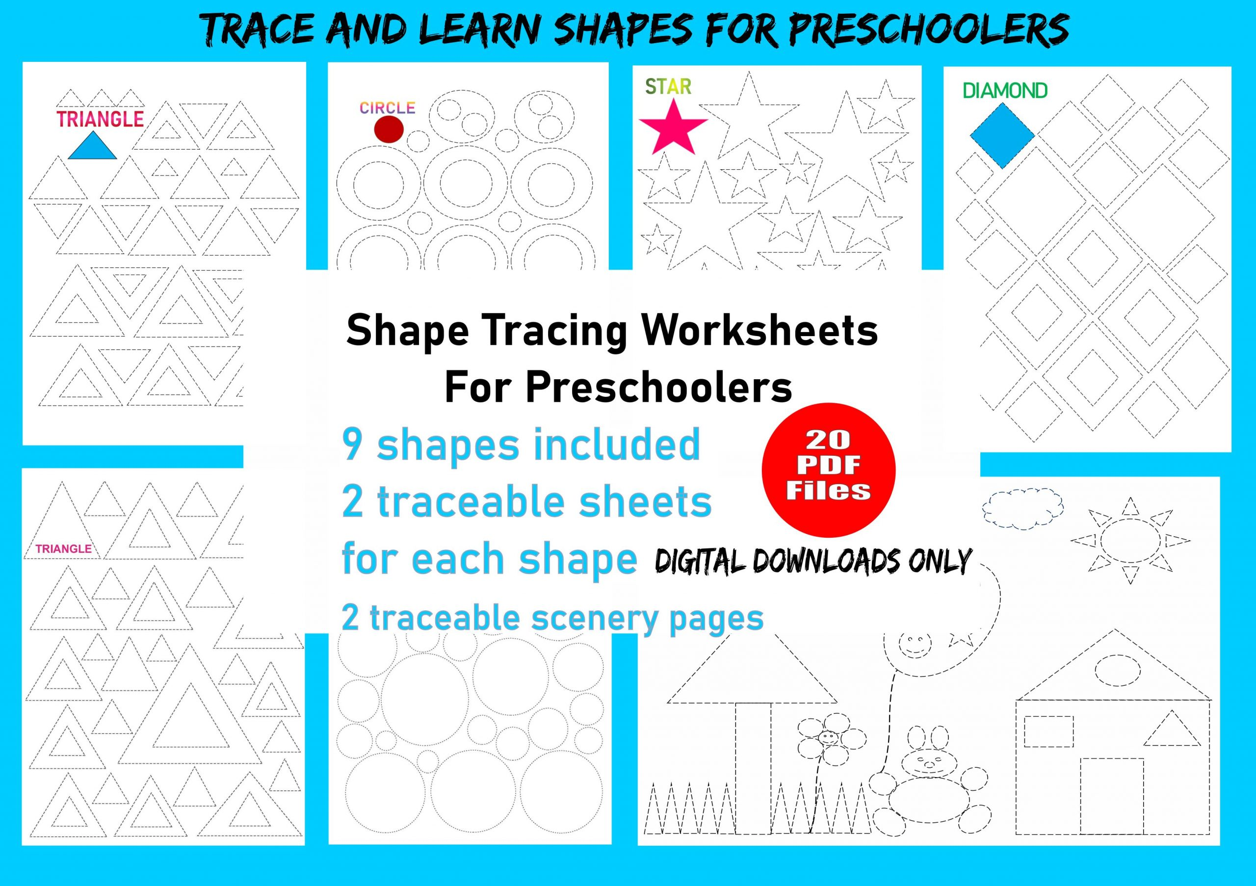 Preschool Worksheets Tracing Shapes 2