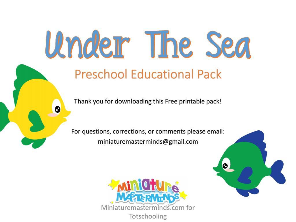 Preschool Worksheets Under The Sea 5