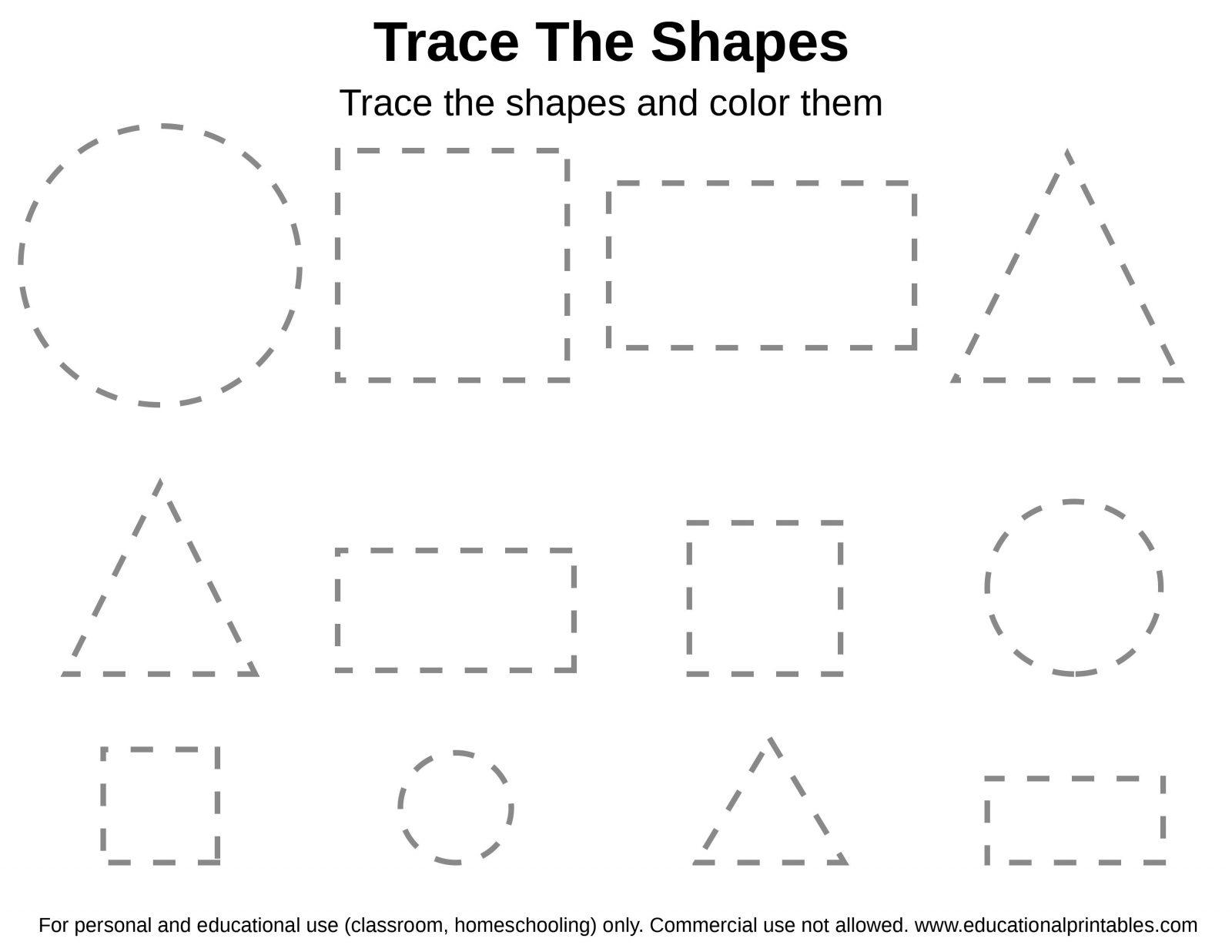 Tracing Shapes Worksheets For Preschool Pdf