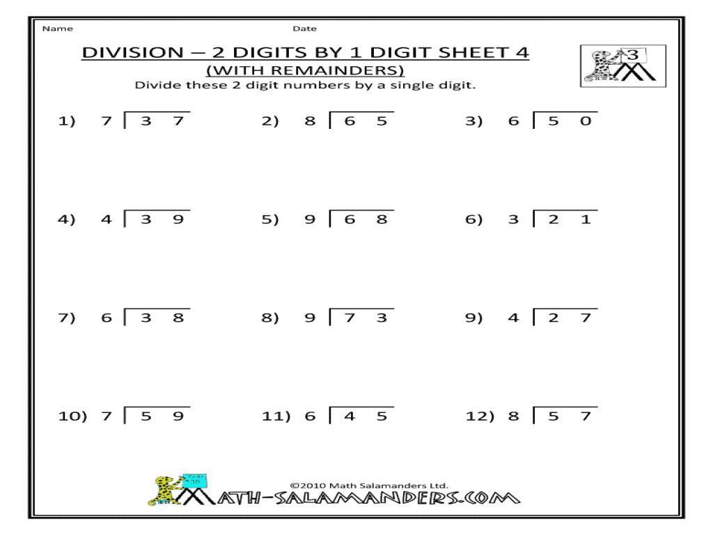 Math Worksheets Division 4th Grade 2