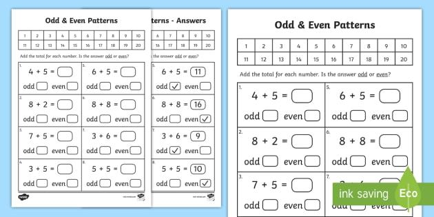 Math Worksheets Even And Odd Numbers 14