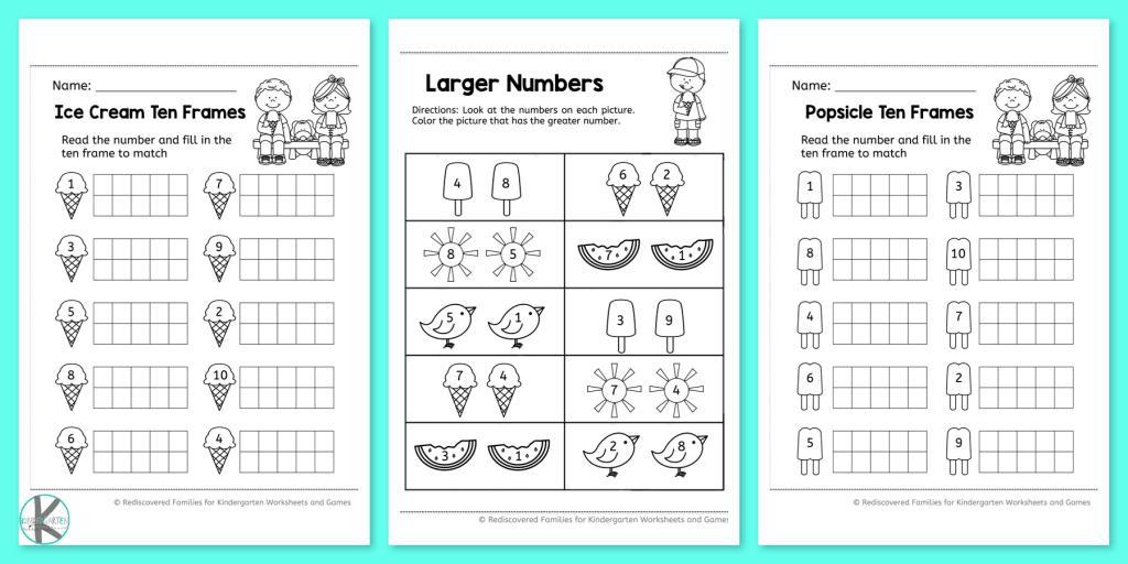 Math Worksheets Kindergarten Numbers 1-10