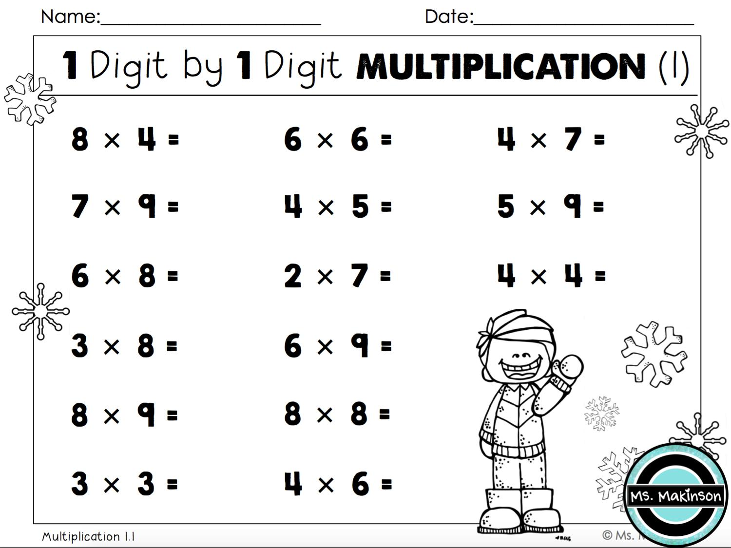 3rd Grade Math Worksheets Multiplication Word Problems
