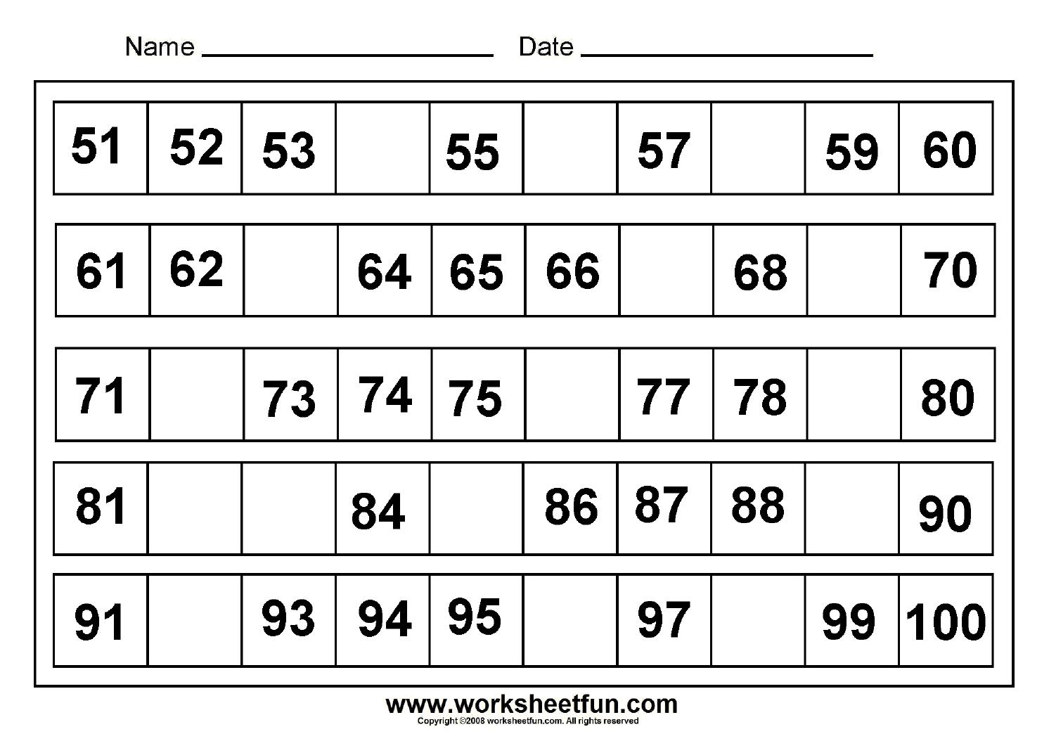 Free Math Worksheets Missing Numbers