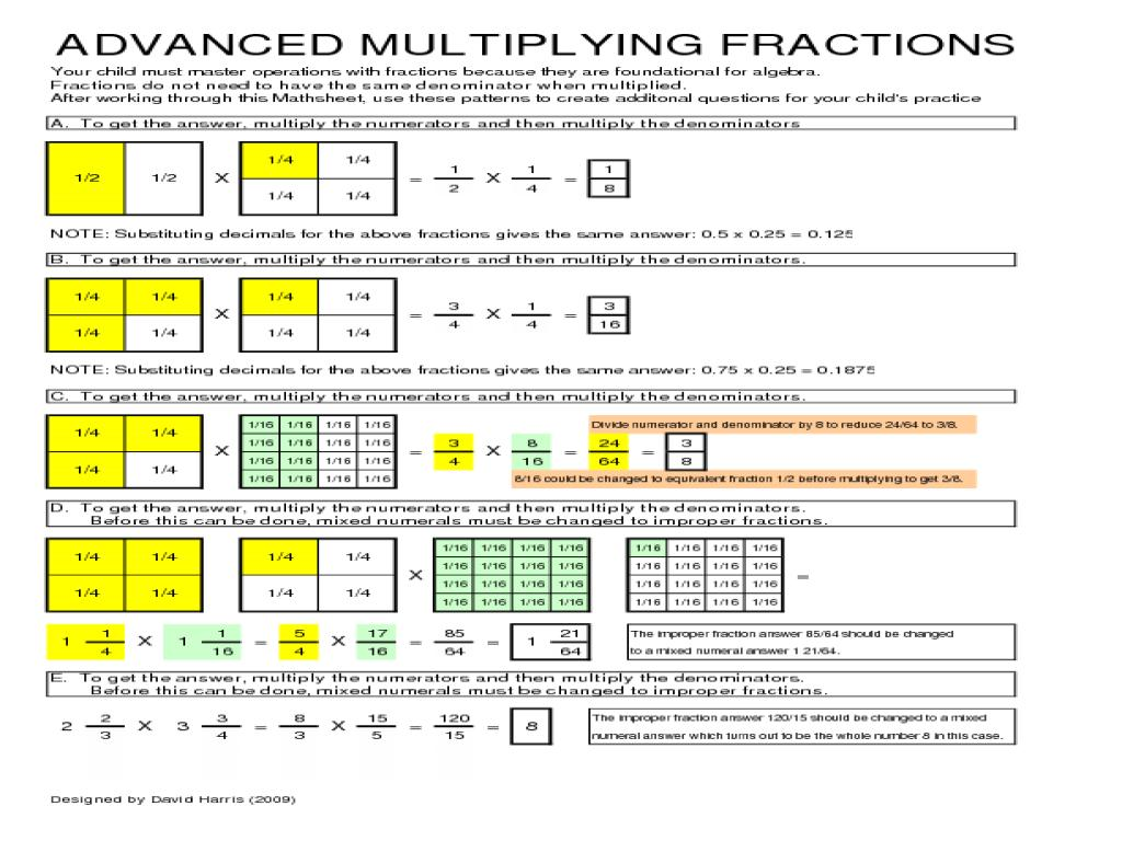 Math Worksheets Fractions Multiplication And Division