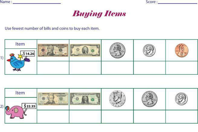 Math Worksheets Money Subtraction