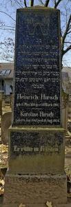 Dieser Grabstein von Heinrich Hirsch ist der letzte seiner Familie in Ingelheim. Vier Generationen fanden hier seit 1844 ihre letzte Ruhestätte. Sein Sohn Josef konnte 1939 nach Argentinien entkommen.