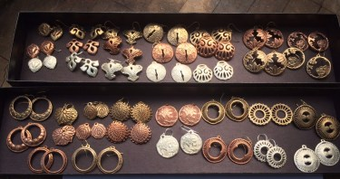 Earrings in Bronze, Copper, and Fine Silver. Coming soon from Steadcraft.