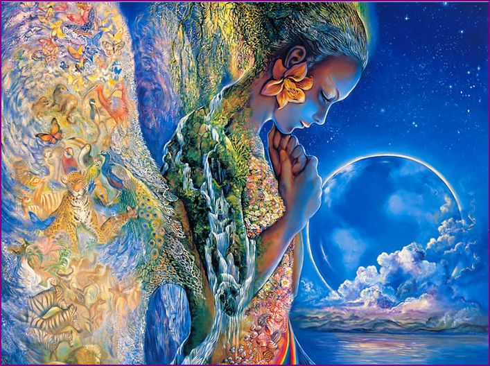 Blue painting of a woman as Mother Earth