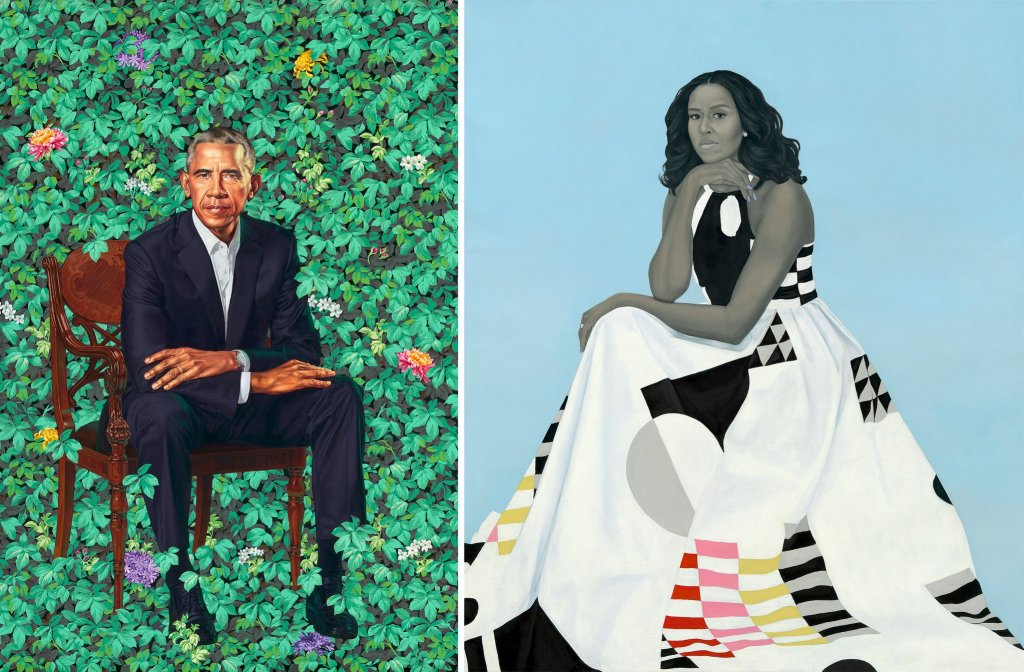 Portraits by Barak and Michelle Obama by Kehinde Wiley and Amy Sherald