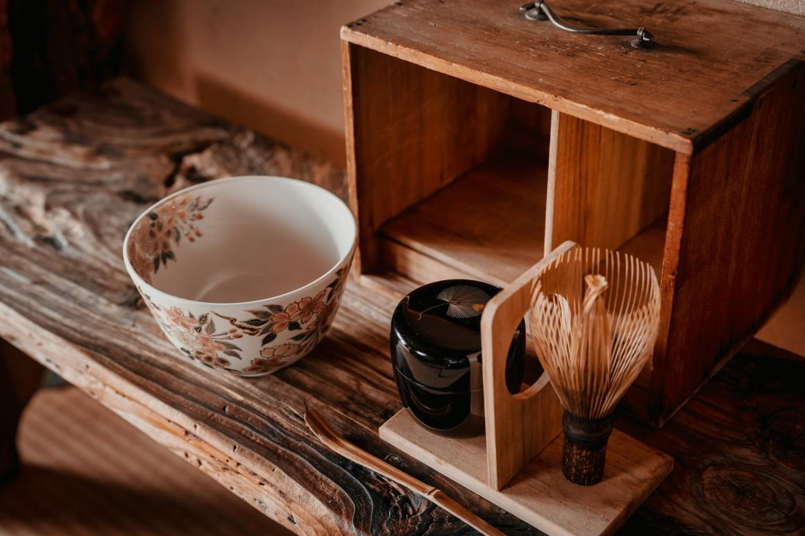 A tea room with a traditional Japanese design and a tea bowl