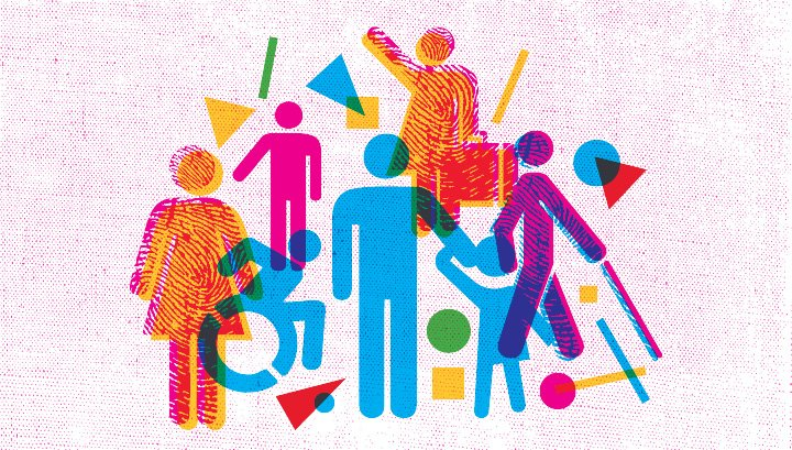 Colourful graphic image of people representing minority groups