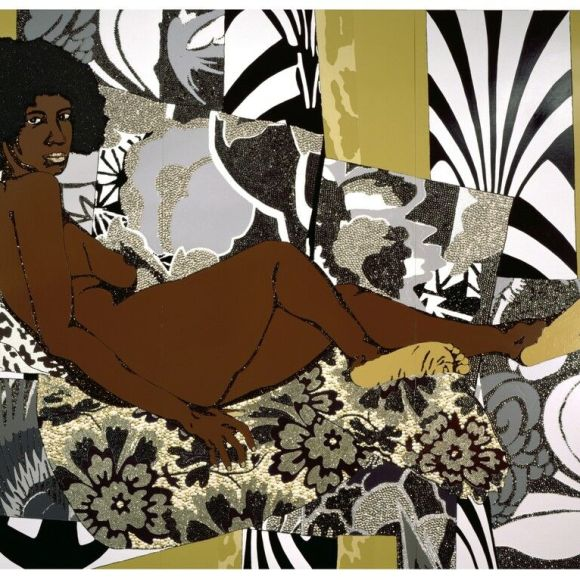Naked black woman on a bed - artwork by Mickalene Thomas