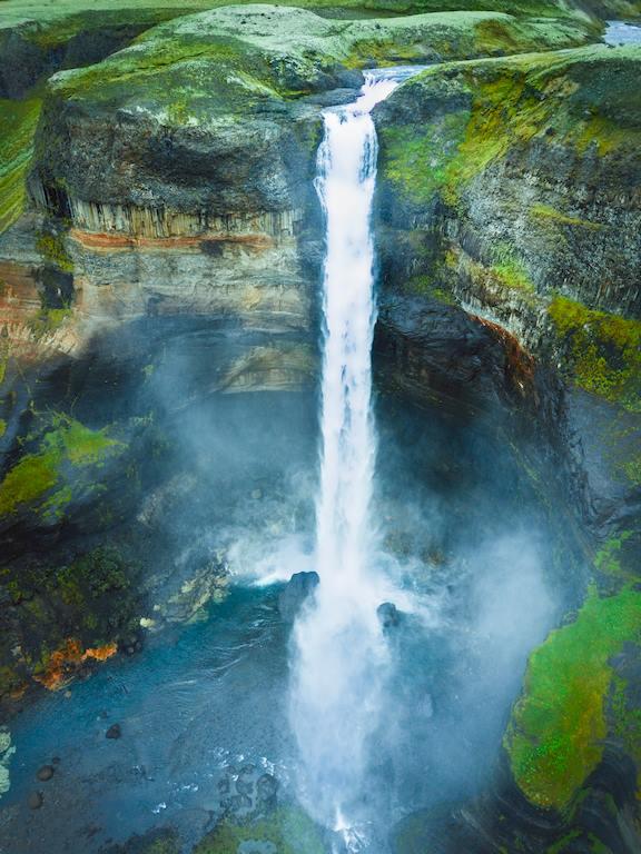 L'impressionnate cascade de Haifoss en Islande