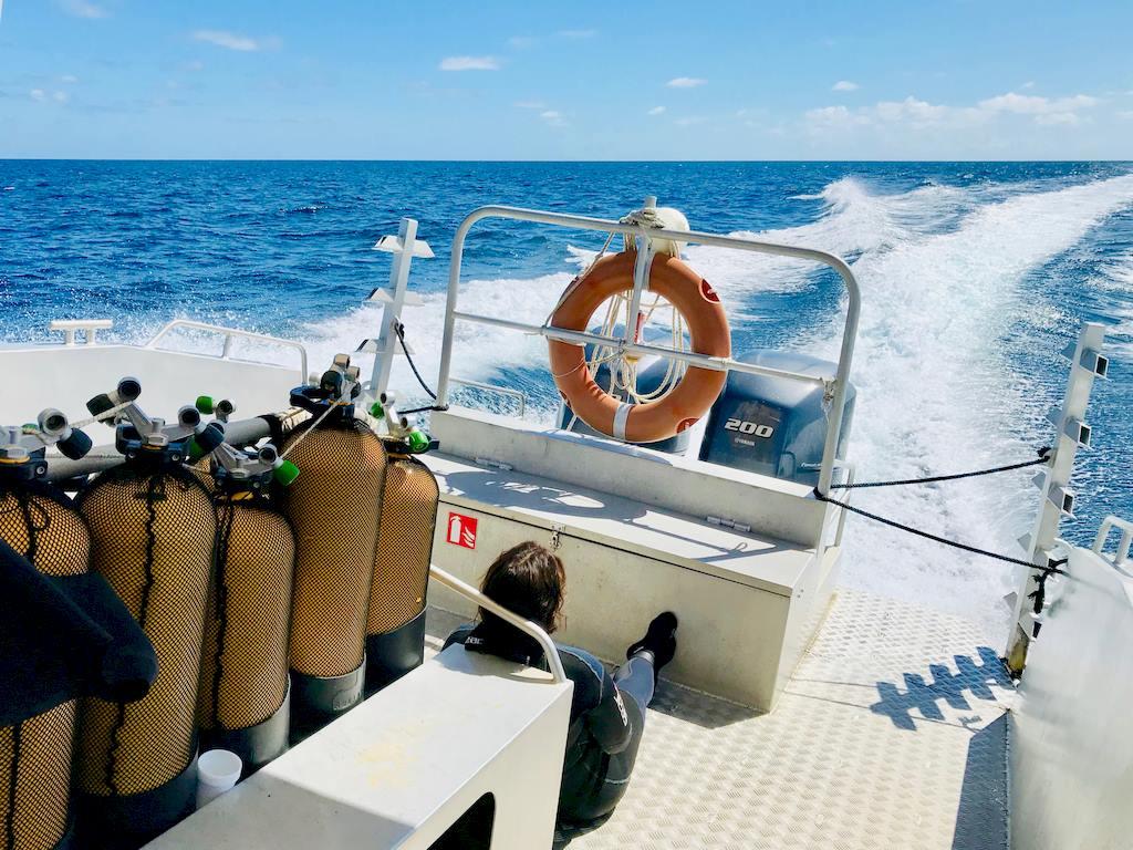 Une personne au fond d'un bateau se demande quand il faut appeler les secours en plongée