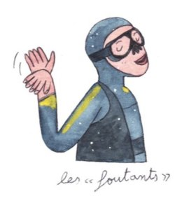 """Illustration de Sara Quod représentant un plongeur de profil """"Foutant"""""""