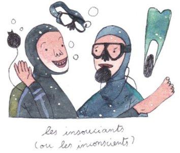 Illustration de Sara Quod représentant deux plongeurs de profil insouciant