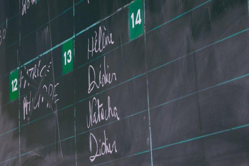 Le tableau des palanquées où les noms sont indiqués