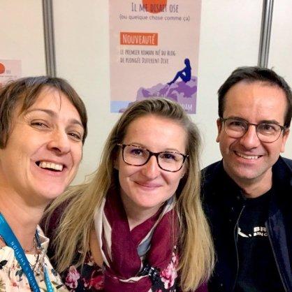 Hélène au Salon de la Plongée 2020 avec un couple bien sympathique