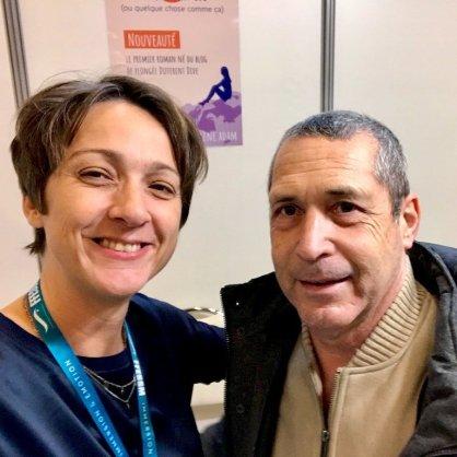 Hélène au Salon de la Plongée 2020 avec un internaute