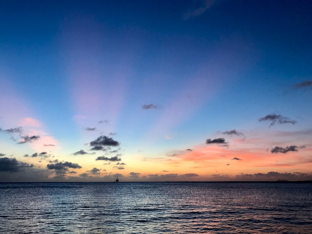 Un magnifique coucher de soleil à Bonaire.