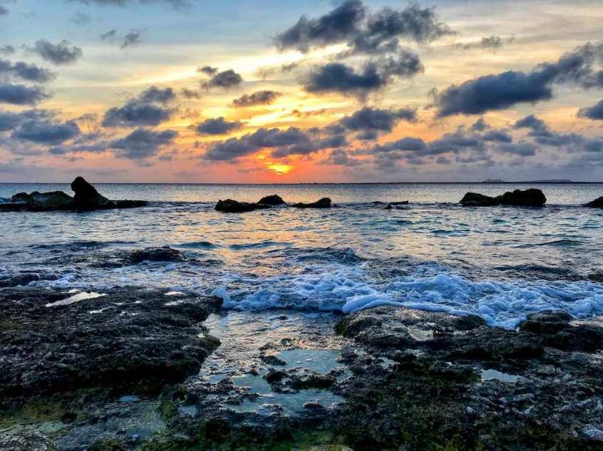 Coucher de soleil à l'ouest de l'île de Bonaire