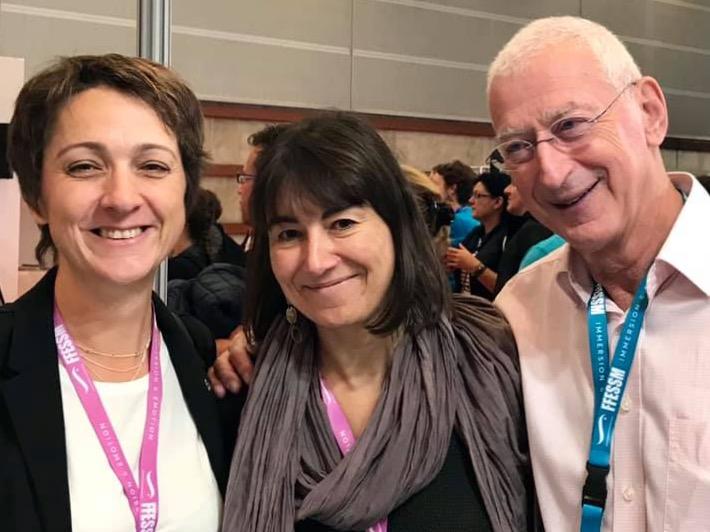 Hélène Adam, Corinne Bourbeillon et Steven Weinberg au salon de la plongée de Paris en janvier 2019.