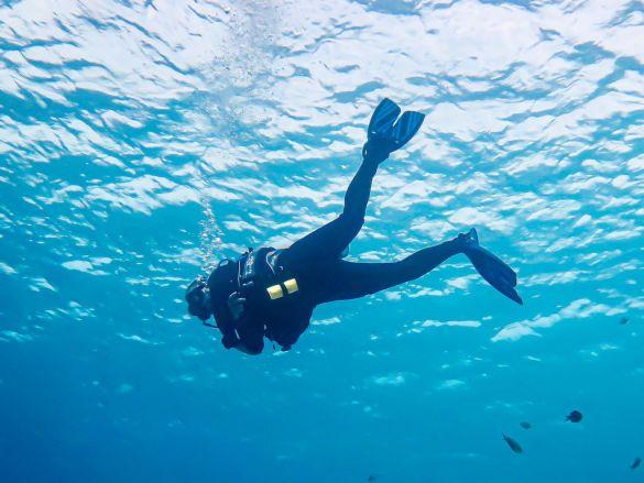 Les pires profils de plongeurs se rencontrent partout autour du monde comme pour ce plongeur en pleine eau à Bonaire.