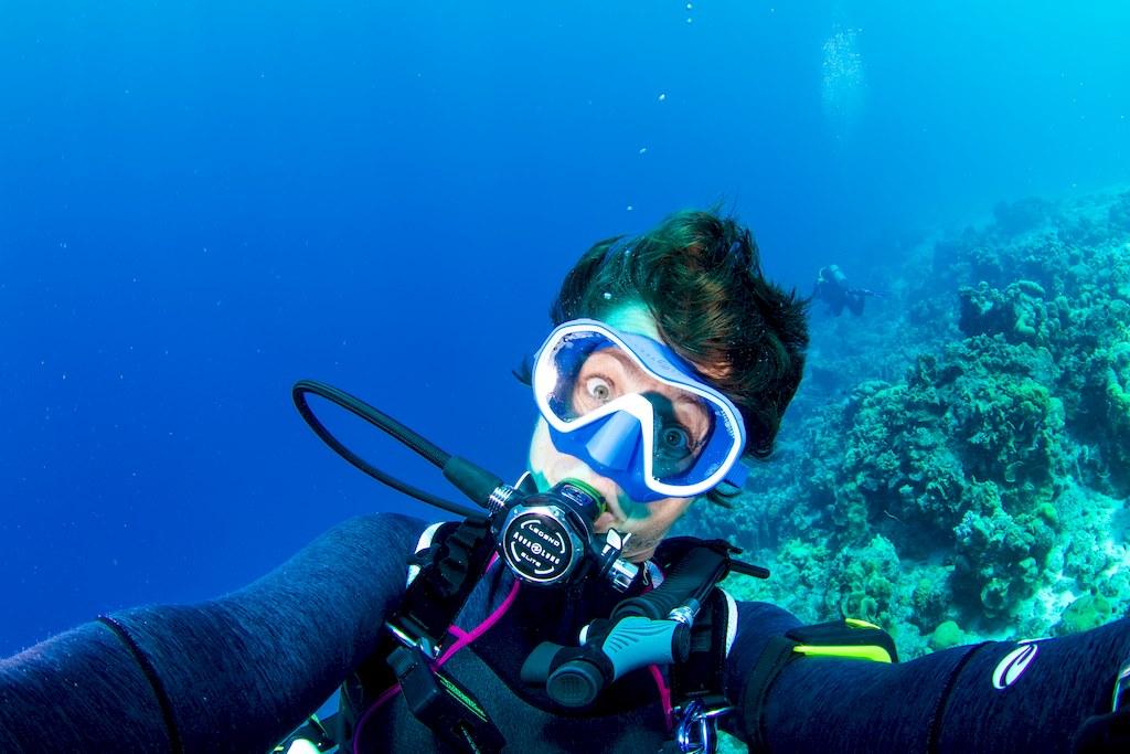 Hélène Adam en plongée dans les eaux chaudes de Bonaire