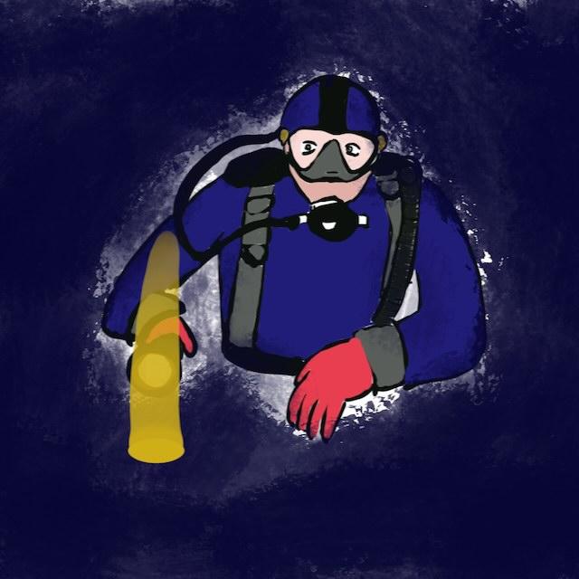 """Dessin d'un plongeur effectuant le signe """"ça ne va pas"""" avec sa lampe"""