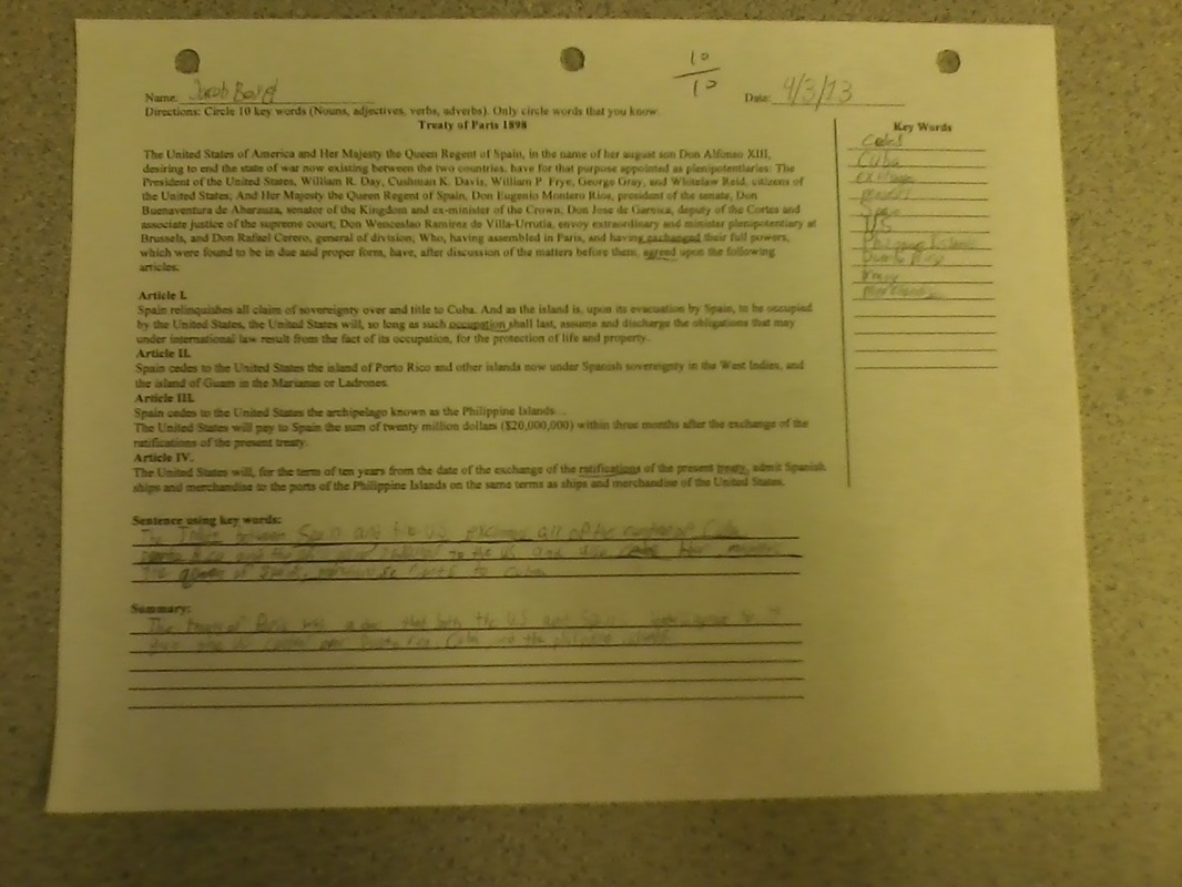 Artifact 12 Treaty Of Paris Worksheet