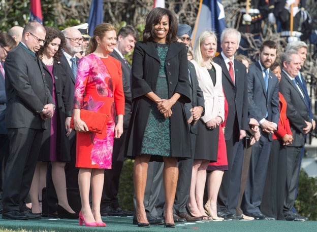 Sophie Gregoire-Trudeau, wearing Zvelle heels with Michelle Obama in Washington, DC, March 10, 2016. Photo credit: Paul Chiasson/The Canadian Press.