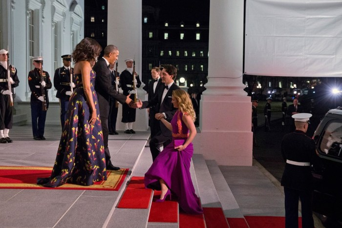 Sophie Gregoire-Trudeau wearing custom Zvelle heels at The White House State Dinner, March 10, 2016. Gown by Lucian Matis. Clutch by Ela Handbags. Earrings by John de Jong. Photo credit: Jacquelyn Martin/AP.