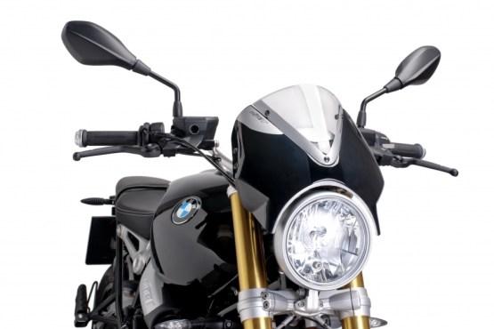 Cúpula Naked BMW R NINE T (2014-2017 ) Puig Color Transparente. Carcasa Negra - Ref. 7012W