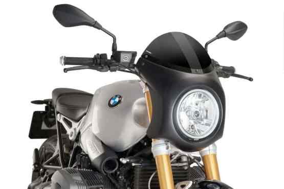SEMICARENADO RETRO PUIG. CARCASA NEGRA, PANTALLA NEGRA - REF. 9160N. BMW NINE T (2014-2017).