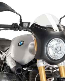 SEMICARENADO RETRO PUIG. CARCASA NEGRA, PANTALLA TRANSPARENTE - REF. 9160W. BMW NINE T (2014-2017).