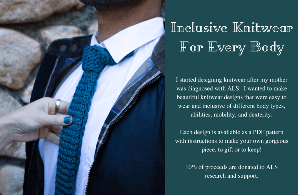 A man is shown at chest level with a teal knitted necktie on. A hand holds the tie as if it were just straightened. Text on the left says Inclusive Knitwear for Every Body