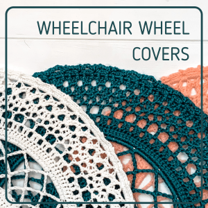 Three crocheted hoops are stacked against a white backdrop. An ivory, teal, and coral colors are displayed. Text at top says Wheelchair Wheel Covers.